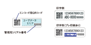 エンコード用QRコード、管理用シリアル番号、印字例、印字例(プレ印刷あり)